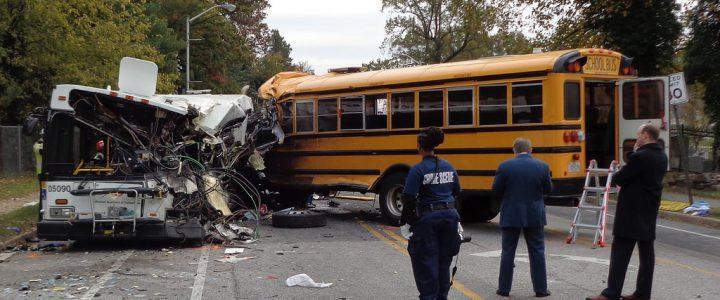 Shot Driver Rams into School Bus!